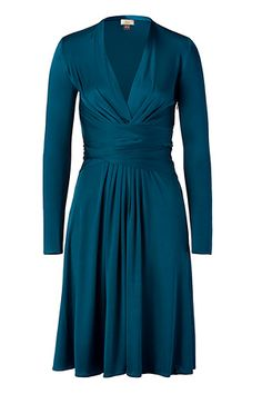 Issa teal blue belted silk dress. My Zyla dramatic color.
