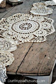 Crochet Doily Table Runner