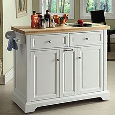 White kitchen cart with trash pull big lots 52dx19wx37h kitchens pinterest white - Big lots kitchen carts ...