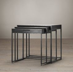 "24 x 16 x 22""h Gramercy Mirrored Nesting Side Tables"