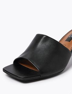 Leather Open Toe Mules | M&S Collection | M&S Platform Mules, Open Toe Mules, Curl Styles, Mule Sandals, Denim Shop, Time Shop, Bra Shop, Leather Working, Summer Looks