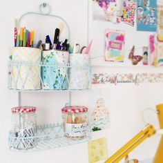 The Craft Room Update   Ikea Expedit Craft Storage and Vintage Wallpaper Patchwork Door