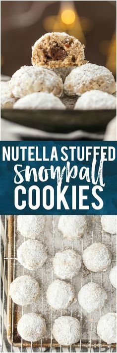 These NUTELLA STUFFED SNOWBALL COOKIES take a classic pecan snowball and kick it up a notch. You better make a double batch because this favorite Christmas cookie goes quick. #cookies #baking #christmas #nutella via @beckygallhardin