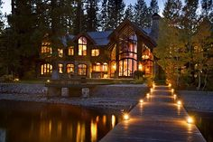 Lake Tahoe, California. This 12,000 sq. ft. estate has 9 bedrooms and 9 baths, billiard room, theater, fitness room, library, and a 145' pier out to the lake!