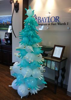 Clever Christmas tree made from surgical gloves and an IV pole!