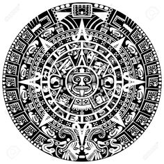 17552928-Mayan-calendar-on-white-background-Stock-Vector-aztec.jpg (1300×1300)
