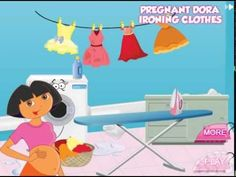 Dora The Explorer Games - Pregnant Dora Ironing Clothes
