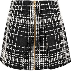 Balmain Balmain - Bouclé Mini Skirt - Black (€1.370) ❤ liked on Polyvore featuring skirts, mini skirts, short skirts, balmain, short mini skirts and zipper skirt