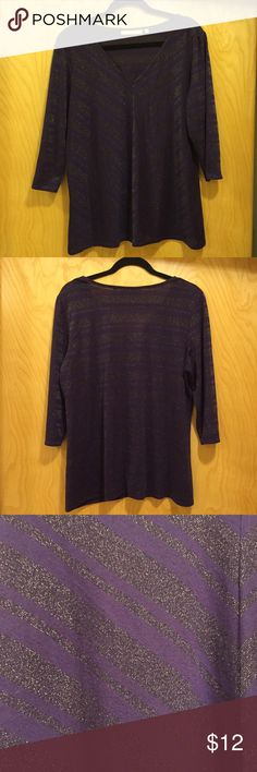 """Price ⬇️ Sejour Metallic Stripe V-Neck Top Sejour V-neck top with 3/4 sleeves features a purple and metallic gunmetal striped design. Front stripes are in a flattering chevron pattern while back is straight across. Top is slightly sheer so would be good with a cami or pretty bralette underneath. 63% Polyester 33% Rayon 4% Lurex. Bust measures 44"""". Minor pilling in some areas. Sejour Tops Blouses"""