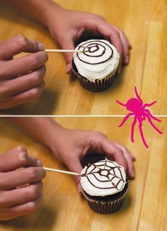 halloween cupcakes Spider Web Frosting Tutorial from HWTM! 5 EASY steps for a chic halloween cupcake, great for a girls night halloween cocktail party! Halloween Cocktails, Dessert Halloween, Halloween Treats, Chic Halloween, Cupcakes For Halloween, Homemade Halloween, Halloween Spider, Halloween Decorations, Superhero Birthday Party