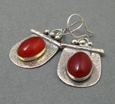 """Sterling Silver and Carnelian Drop Earrings, 3/4"""" wide and 1 1/4"""" long by stoneandsterling on Etsy https://www.etsy.com/listing/120611706/sterling-silver-and-carnelian-drop  $75.00"""