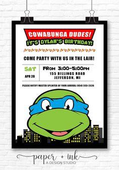 Teenage Mutant Ninja Turtles Invitation TMNT