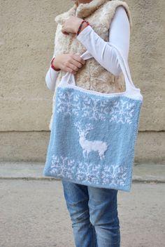Tote bag Knit nordic tote Deer handbag Reindeer Fair isle knitted…