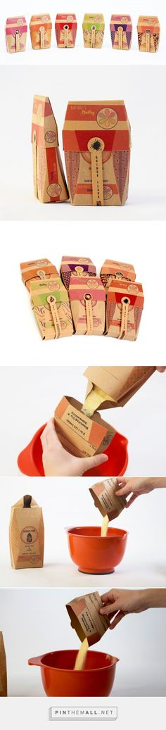 Nature's Medley flour packaging design concept with measuring cup by Rebecca Kisch, Catlin Khamashta, Sally Yingst (USA) - http://www.packagingoftheworld.com/2016/08/natures-medley-student-project.html