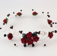 Christmas Goth wedding hair vine with red roses, garnet and black Swarovski crystals on silver wire