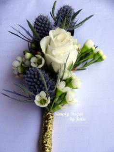 White Rose Boutonniere with Blue Thistle and White Waxflower. Gold Wire stem - Simply Regal by Julie