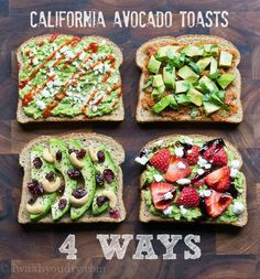 When that 3pm hunger strikes, be prepared with these California Avocado Toasts! With these four easy variations you're going to want to make a new one each day!  I'm a huge fan of snacking. But what I love most about choosing those creamy California Avocados is that I know I'm getting something good for me, and they taste great too! When paired with cheeses, nuts, and even fresh berries, they're the ideal snack! This first toast is one of my all time favorites. It may seem a l...