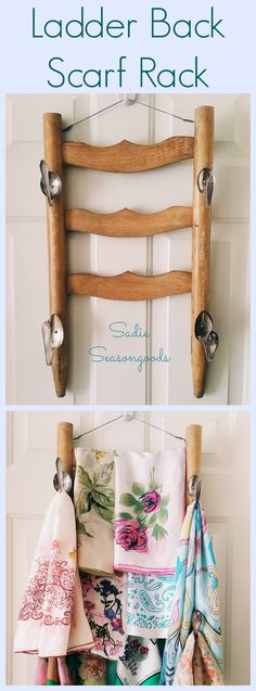 Have a vintage ladder back chair that can't be used for sitting anymore? Salvage the back and turn it into a hanging rack for the back of your closet door- in my case, a Ladder Back Scarf Rack! Attach some vintage spoons or other flatware to make additional hooks- great upcycle / repurpose project! #SadieSeasongoods