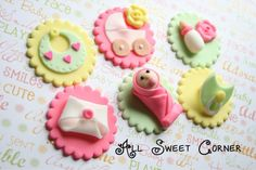 baby shower fondant cupcake toppers