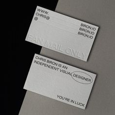 Business cards printed on Cool Grey Colorplan Paper. Design by Chris Biron, Print by Dot Studio. Business Cards Uk, Embossed Business Cards, Fashion Business Cards, Artist Business Cards, Black Business Card, Stationery Printing, Stationery Design, Bussiness Card, Graphic Design Posters