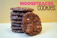Moose Tracks Cookies - chocolate cookies made with white chocolate chips and mini Reese's Peanut Butter Cups