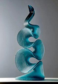 sculputral glass pieces are by artist Vladimira Klumpar