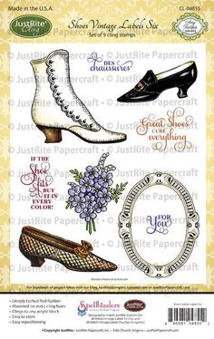 Shoe Vintage Labels Six. JustRite Papercraft 2013 November Release
