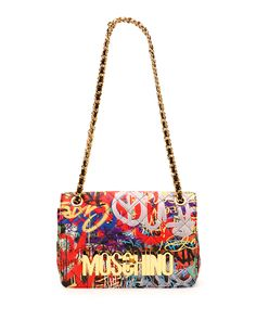 Moschino Graffiti-Print Quilted Shoulder Bag