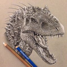 """✿ Paparwee S. ✿ on Instagram: """"Finished!! """"Indominus rex""""✌️ @jurassicworld #jurassicworld ..(EE pencil & white charcoal on strathmore toned gray paper) #paparwiiart"""""""