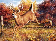 stag deer & doe autumn ~ We'll Meet Again by Hautman Brothers