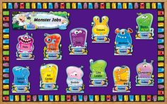 "This idea for using the new Monster Job Assignment bulletin board set helps make your classroom ""monster""ously fun! (shown assembled)"