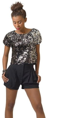 8635ee932ce5d Hot   Delicious Women s All Over Sequin Crop Top Small Silver