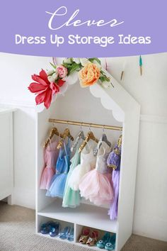 Sequin Hangers and HERE Tutu Dresses and HERE Dress-up Shoes and HERE and HERE I've posted a few photos on IG of the dress up closet Steve made for Harlan, and every time I do I get lots of questions about it – so I'm finally getting around to pos Dress Up Wardrobe, Dress Up Closet, Kids Wardrobe, Bedroom Wardrobe, Wardrobe Design, Bedroom Inspo, Dress Up Storage, Girls Dress Up, Little Girl Dress Up