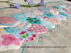 Would be nice with little hexagons on a pink patch on Abby's quilt. Sewing Room Secrets. 04.2015