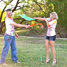Couples photography, paint fight