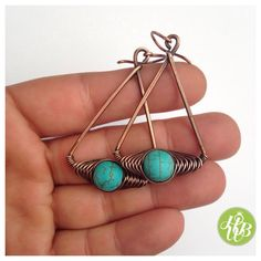 Turquoise howlite herringbone earrings turquoise earrings