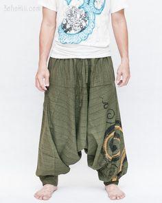 Baggy Harem Pants Textured Cotton Swirl Paint Unisex Aladdin Pants (Green II)