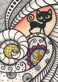 ACEO-Zentangle-With-Black-Cat-Original-Art