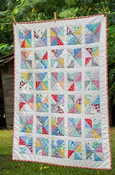 Scrappy Pinwheel Quilt in 1930s reproductions ~ Grandma's This and That