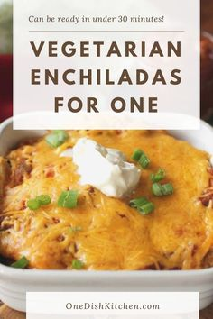Easy to assemble Vegetarian Enchiladas For One! Seasoned vegetables and black beans are sandwiched between corn tortillas and cheese. The ingredients are layered, casserole style in a small baking dish. Topped with salsa and cheese, this wonderful single serving meal can be ready in under 30 minutes. Food Dishes, Main Dishes, Zucchini Cheese, Breakfast Recipes, Dessert Recipes, Vegetarian Enchiladas, Single Serving Recipes, Small Baking Dish, Cooking For One