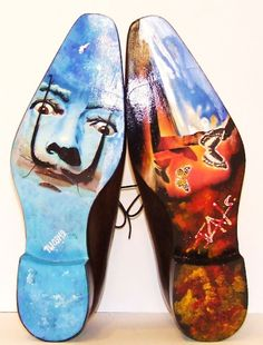 Salvador Dali Hand Painted Onto Your Sole By Ivan Crivellaro Hand Made SHoes