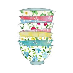 A Stack of Bowls Print Sahbby chick Retro fun  by TheJoyofColor, $21.00