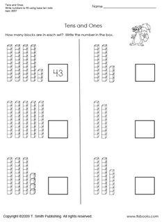 Más de 25 ideas increíbles sobre Tens and ones worksheets