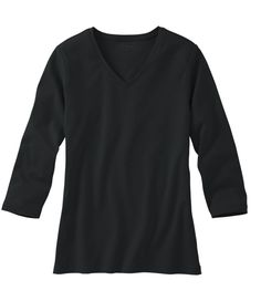 Bean V-Neck, Three-Quarter-Sleeve at L. Our high quality Women's Shirts and Tops are thoughtfully designed and built to last season after season. Printing Labels, Ll Bean, V Neck, Knitting, Shirts, Tees, Mens Tops, How To Wear, Acne Detox