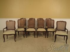36907: Set Of 10 BAKER Country French Cane Back Dining Room Chairs