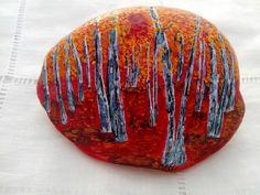 Piedra Pintada a mano-Bosque-Paisaje Piedra por ColorBakalito