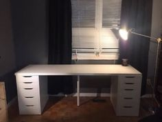 Desk for two using ikea furniture linnmon table top black brown