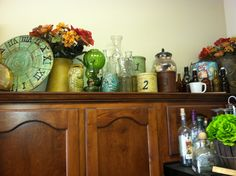 My cabinets done in vintage decor