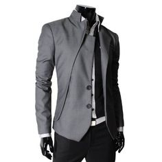 TheLees Mens unbalance 2 button china collar jacket