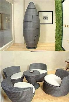 """Now this is innovation. Reminds me of a machine in Woody Allen's """"Sleeper"""" which I won't mention, but it's actually a whole seating set. How cool for a small apartment!!!"""